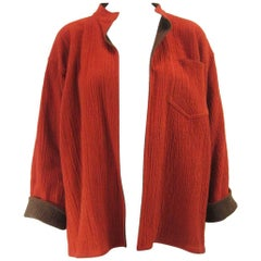 Vintage Issey Miyake Textured Orange & Brown Open Jacket