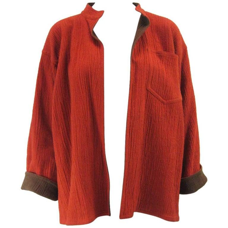 Vintage Issey Miyake Textured Orange & Brown Open Jacket