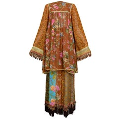 Dolce & Gabbana 70s Patchwork Tapestry Hippie Ensemble, Circa 1993