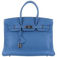 Hermes Birkin Handbag Mykonos Togo with Palladium Hardware 35