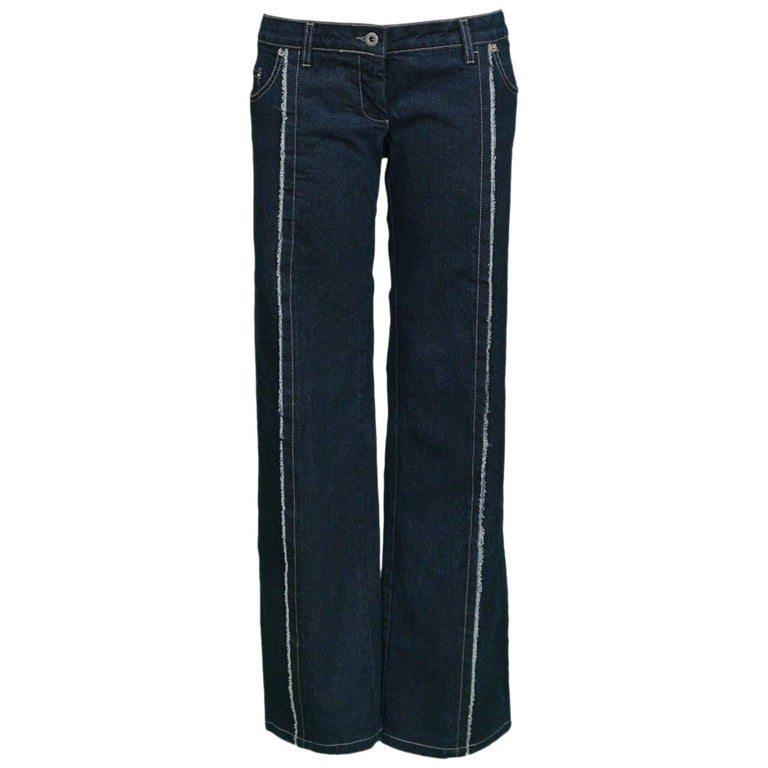 """Legendary Alexander McQueen Iconic """"Bumster"""" Lowest Rise Runway Jeans 1990's For Sale"""