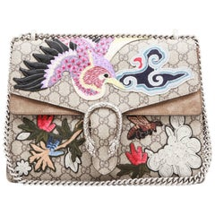 GUCCI Dionysus Flap Bag in GG Supreme Canvas with Suede and Embroideries