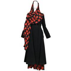 Dolce & Gabbana Black Wool and Velvet Floral Shawl Coat 1990s