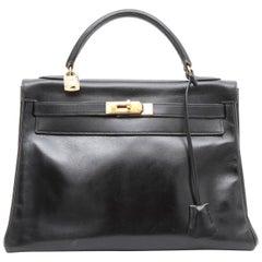HERMES Kelly 32 Vintage Bag in Black Box Retourné Leather