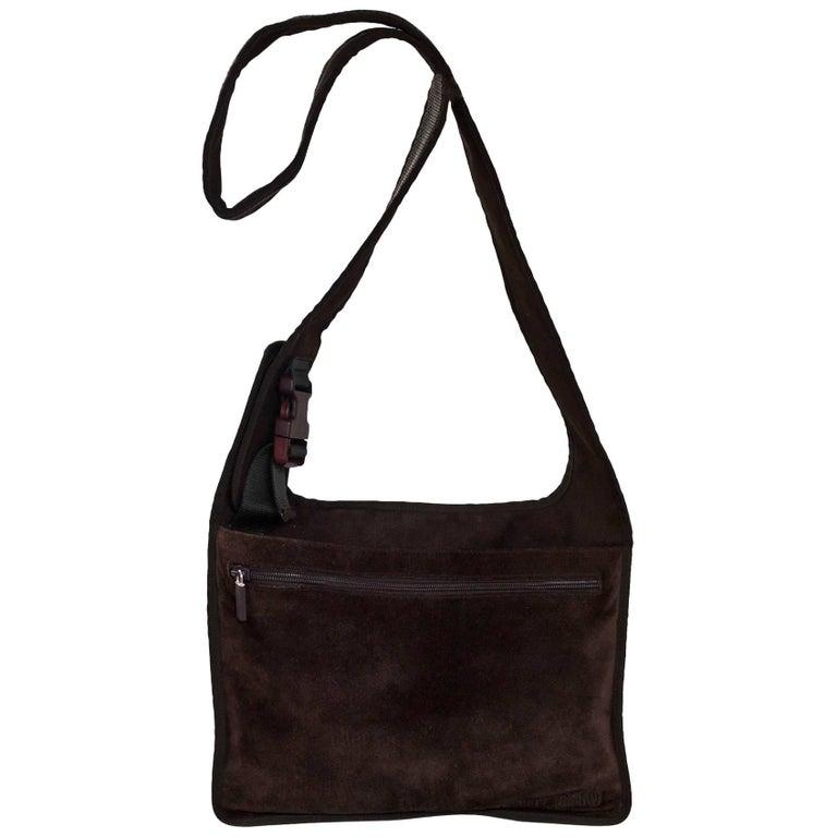 Miu Miu Brown Suede Flat Messenger Bag