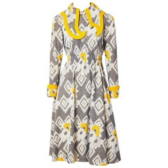 Ronald Amery Mustard and Grey Patterned Knit Dress