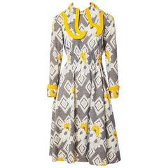 Ronald Amery Mustard and Grey Patterned Knit Dress