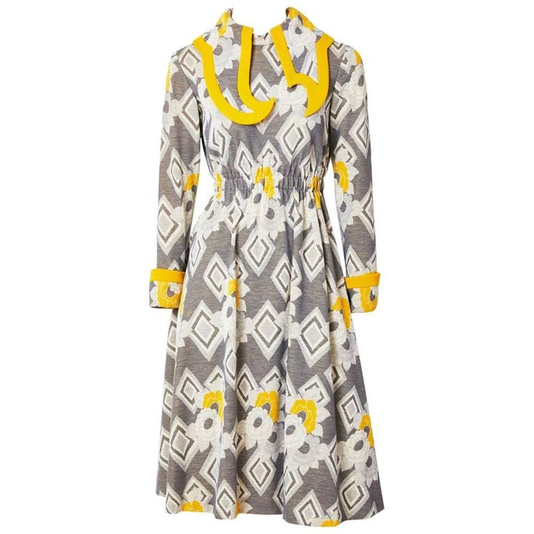 Ronald Amery Mustard and Grey Patterned Knit Dress For Sale