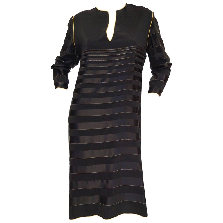 1980s Bellville Sassoon Black and Gold Stripe Sheath Dress / Caftan
