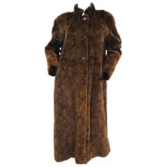 1980s Geometric Sheared Mink Coat XL 14