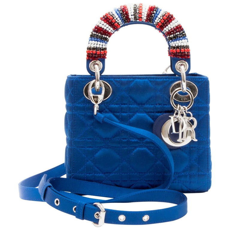 CHRISTIAN DIOR Lady D Bag In Electric Blue Silk Satin