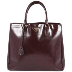Prada Convertible Open Tote Vernice Saffiano Leather Large
