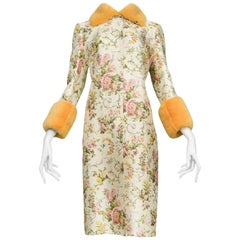 Stunning Dolce & Gabbana Floral Coat With Tangerine Mink Collar and Cuffs 1998