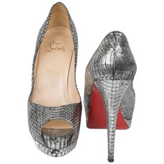 Christian Louboutin High Heel Sandals in Aged Silver Python Size 39.5EU