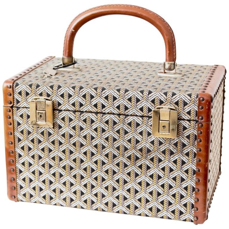 Goyard Paris Vanity Train Case Mini Trunk Beauty Bag Carry On Vintage 1960s  For Sale