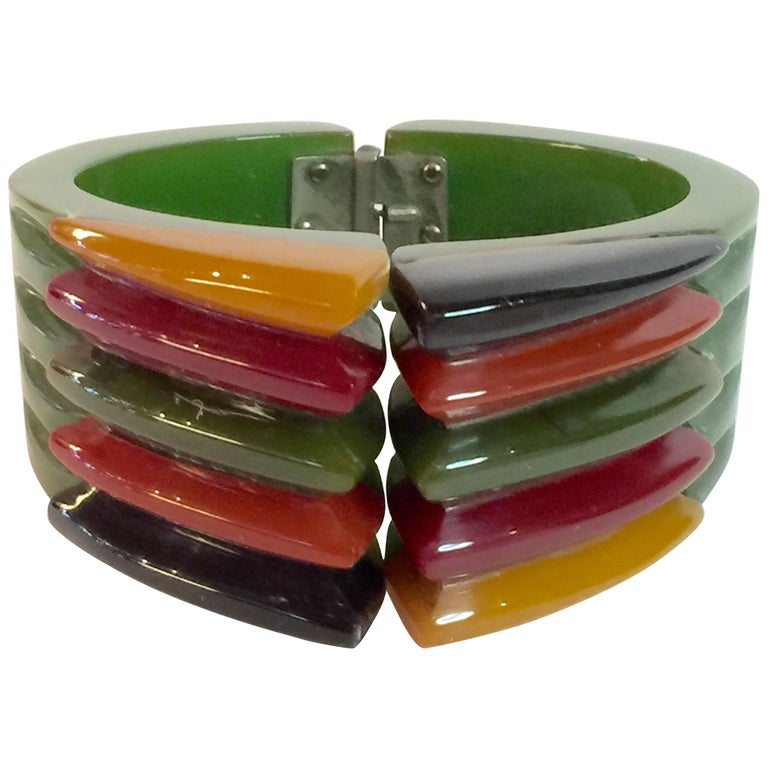 Iconic 1930s Bakelite Multicolor Geometric PHILADELPHIA Hinged Bracelet 1