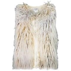 Chanel Cream Faux Fur Wool Sz FR34