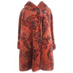Miss Dior Faux Fur Autumn Paisley Swing Coat