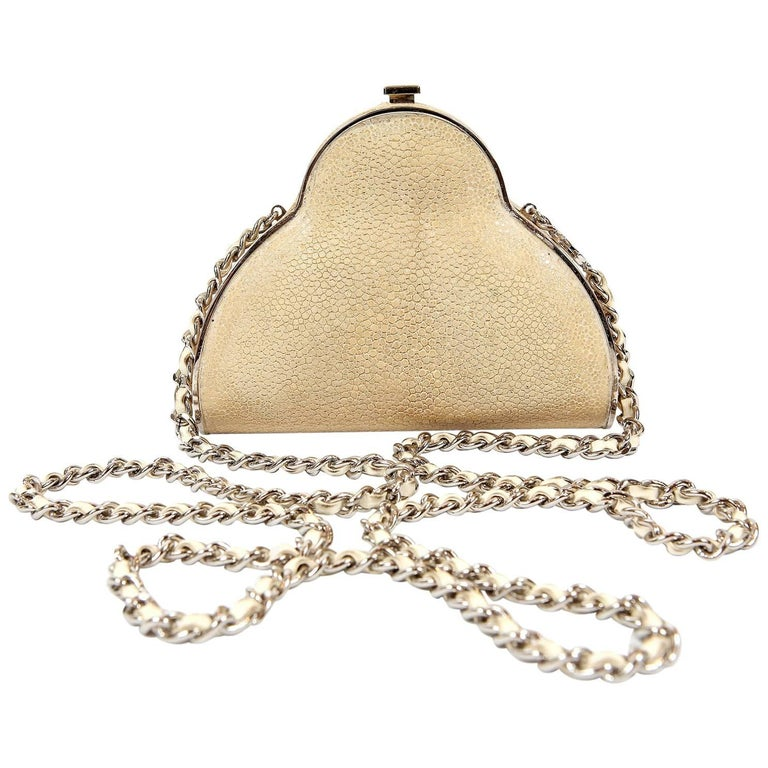 Chanel Beige Stingray Evening Clutch with Crossbody Strap 1