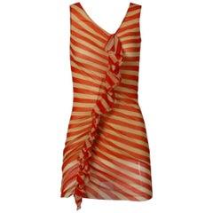 Jean Paul Gaultier Red + Beige Striped Mesh Tunic Dress with Asymmetric Ruffle