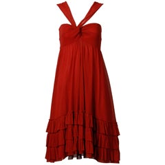 Jean Paul Gaultier Brick Red Mesh Dress with Ruffled Hemline