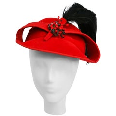 1930s Red Sculptural Velvet Hat with Black Feather
