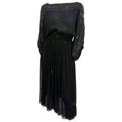1970s Judith Ann Beaded Silk Chiffon Black Dress