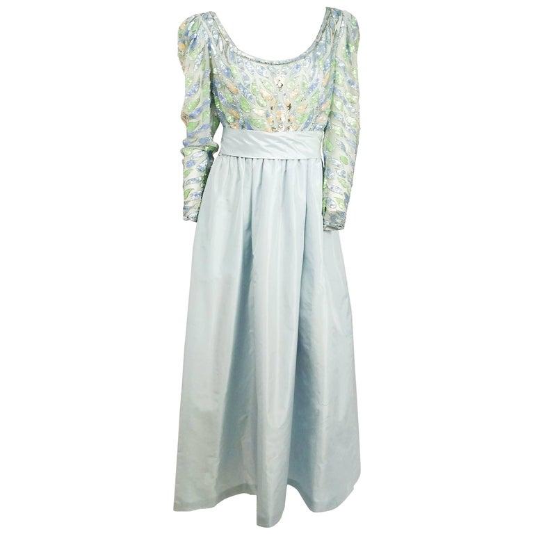 1960s Lillie Ruban Pastel Blue Beaded Silk Gown