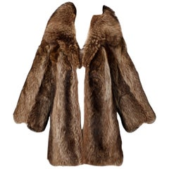 1970s Vintage Raccoon Fur Coat with Pop Up Collar and Leather Trim