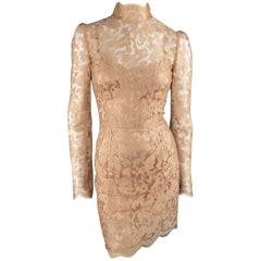DOLCE & GABBANA Size 8 Beige Lace Mock Neck Long Sleeve Cocktail Dress