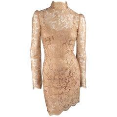 DOLCE & GABBANA Size 8 Beige Lace Mock Neck Long Sleeve Cocktail Dress