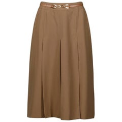 1970s Celine Vintage Brown Pleated Wool Skirt with Leather Logo Buckle