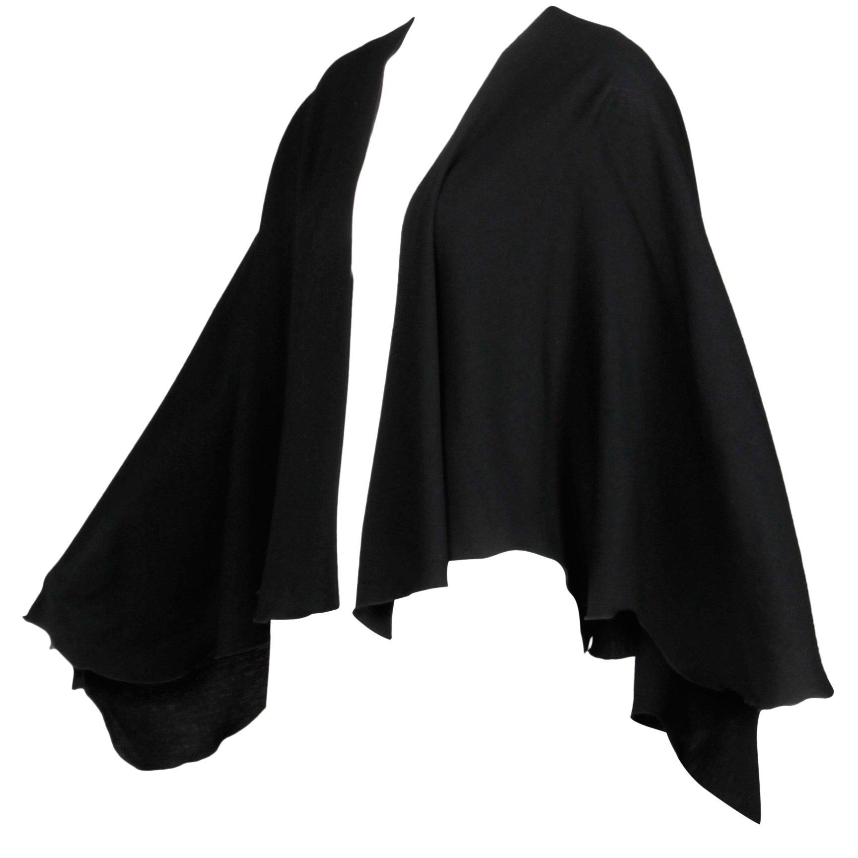 1970s Mr. Blackwell for Bullock Wilshire Black Scalloped Wool Cape, Wrap Jacket