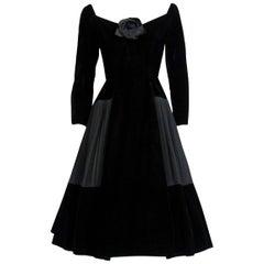 1955 Christian Dior Haute-Couture Black Velvet & Pleated Silk Cocktail Dress