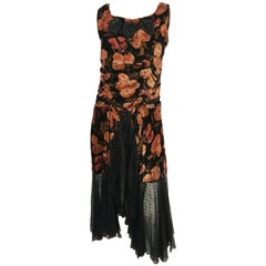 1920s Floral Velvet Dress with Black Beaded Applique