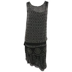 1920s Black and White Beaded Rhinestone Silk Chiffon Dress