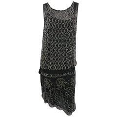 1920s Black and White Beaded Rhinestone Silk Chiffon Dress