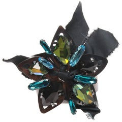 Lanvin Chrome Blue-toned Flower Cuff