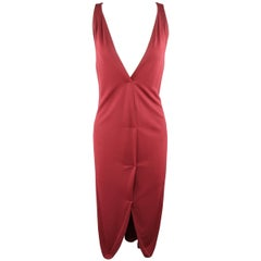 YVES SAINT LAURENT Size 14 Burgundy Viscose Blend V Neck Shift Dress