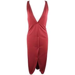 YVES SAINT LAURENT Size 14 Burgundy Viscose Blend V Neck Shift Dress