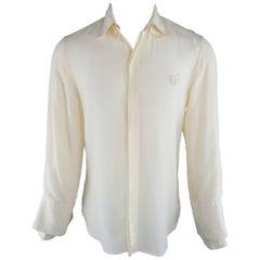 JEAN PAUL GAULTIER Size M Cream Chiffon Double Collar Cuff Shirt