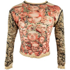 Jean Paul Gaultier Size XL Gold and Red Face Print Ribbed Wool Pullover