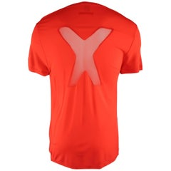 JEAN PAUL GAULTIER Size M Orange Red Frayed Edge Mesh X T-shirt