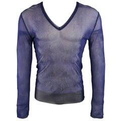 JEAN PAUL GAULTIER Size L Navy Blue Fishnet Print V Neck Mesh Pullover