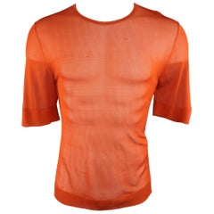 Men's DRIES VAN NOTEN Size L Brick Orange Metallic Sheer Mesh Knit T-shirt