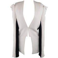 Gareth Pugh White and Black Open Front Structured Cold Shoulder Jacket