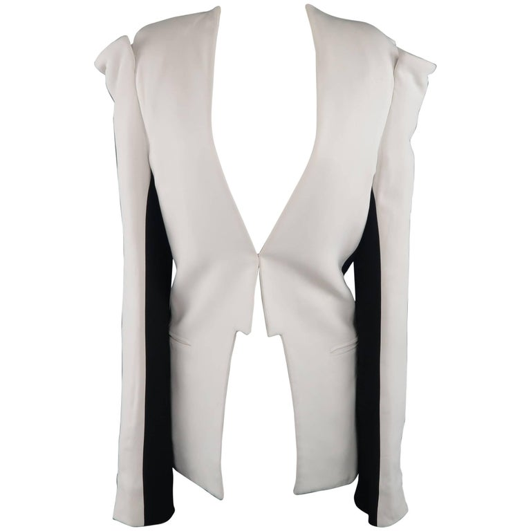 Gareth Pugh White and Black Open Front Structured Cold Shoulder Jacket