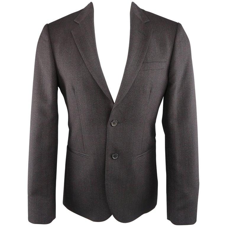 Raf Simons 40 Regular Charcoal Red Nailhead Wool / Mohair 2 Button Sport Coat