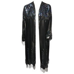 1970s Judith Ann Sheer Black Beaded Kimono Jacket
