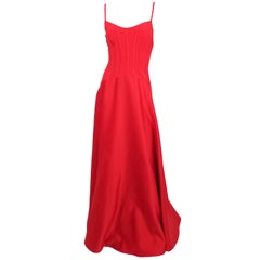 1990s Tadashi Red Corset Top Evening Gown